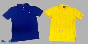 Lot of 2 POLO RALPH LAUREN Blue Yellow Short Sleeve Polo Shirts Size Large L 14