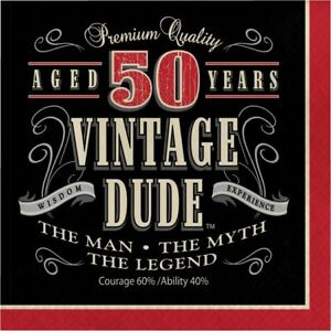 Vintage Dude 50th Birthday 3-Ply Lunch Napkins Paper 16 Pack Birthday Tableware