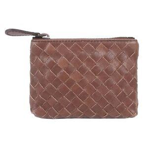 100% Bottega Veneta Intrecciato Woven Nappa Leather Coin Purse Case In Brown