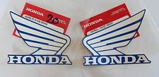 2 X HONDA WING FUEL TANK STICKERS DECALS 90mm WHITE / BLUE ***UK STOCK***