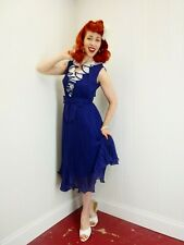 New listing Vtg 1960's Navy Blue & White Afternoon Dress Ruffles w/ Pleats Full Skirt Pin-Up
