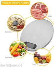 5 kg / 1g Redondo Acero inoxidable digital Comida Báscula cocina peso