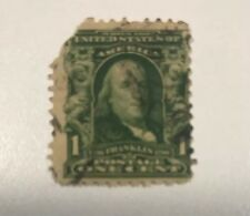 Rare 1902 Benjamin Franklin 1 cent stamp used #300