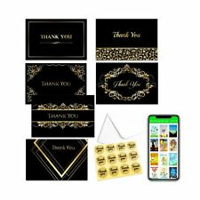 Thank You Card Notes Box of 48 With Envelopes & Stickers–Six Luxury Designs i.