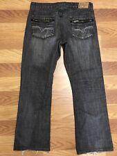 Helix Jeans Mens Size 36 ( 38) X 32 Grey Dark Wash Distressed Slim Boot Denim