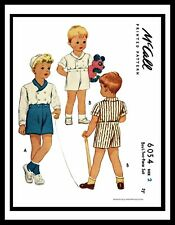McCall 6054 BOY'S 2pc Suit Double Breasted Shorts Top 1940's Sewing Pattern ~2~~