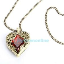 New Fashion Womens Ruby Red Swarovski Elements Heart Necklace Long Chain Pendant
