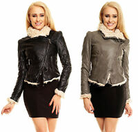 Sexy women's Leather Look Jacket with Faux Fur Worm Biker Jacket Size 8-14