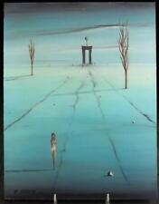 """Kenneth Stancin """"Divagation in Space"""" (1971) Oil on Masonite Good Condition"""
