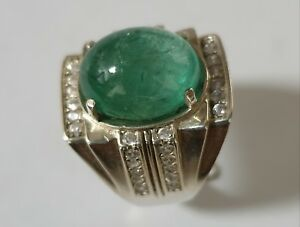 12.05 ct. CHARMING RING EMERALD TOP GREEN NATURAL UNTREATED
