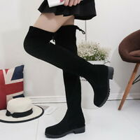 US Sexy Women's Over The Knee Block Heel Ladies Lace Up Stretch Thigh High Boots