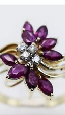 14K Yellow Gold Marquise Pink Ruby Stones Lady Ring with Diamonds - Size 8.75