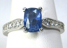 Blue Sapphire Ring 14K white gold Antique 1.91ct. UNTREATED CERTIFIED Ap $3,991