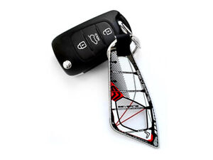 Windsurfing Sail Keychain - flexible sail in real sail shape and colours.
