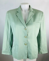 Armani Collezioni Women's 10 Cotton Blazer Jacket Mint Green 3 Button Chino