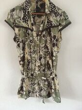 BAY Cotton Tunic Top Size 14 Green/Brown Floral With Beads  R6967