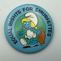 "1980 Smurfs Equal Rights For Smurfettes 2-1/4"" Button Pin Pinback Vintage   R5"