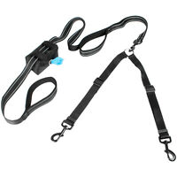 Twin Dog Lead with Waste Bag Pouch Two Way Double Leash Reflective Padded Handle