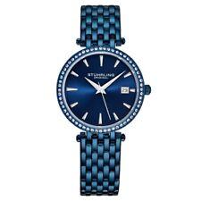 Stuhrling Original 3929 3 Quartz Crystal Accented Blue Bracelet Womens Watch
