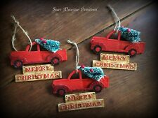 Country Primitive Farmhouse Vintage Ol' Red Truck Christmas Ornaments Sign
