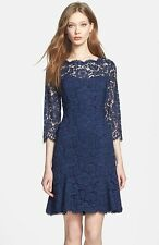 ELIZA J TULIP SCALLOPED LACE NAVY FIT & FLARE  DRESS sz  0P