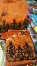 Exclusive Design of Nigerian Traditional wedding George wrapper in Orange  with