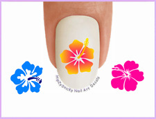 Nail Art #511 IMAGE Hawaiian Flower #1 Hibiscus WaterSlide Nail Decals Transfers