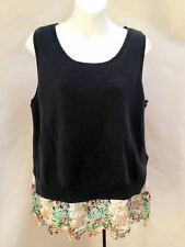 Anthropologie Moth L Sweater Blue Floral Embroidered Lace Sleeveless Tank New