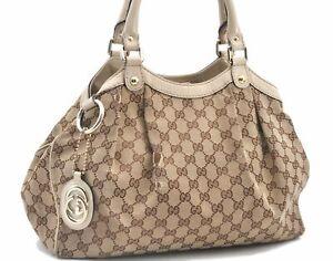 Authentic GUCCI Sukey Tote Bag GG Canvas Leather 211944 Brown Beige E1049
