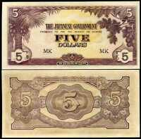 MALAYA 5 DOLLARS JAPANESE OCCUPATION P M6 MK LETTER UNC