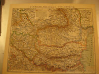 Antike Karte um 1900-Rumänien,Bulgarien und Serbien,Staatsformen.Antique map