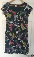 Stunning Ex WHITE STUFF Teal Flying Parrots Dress - Size 10
