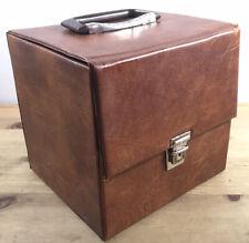 "Vintage 7"" singles Brown Faux Leather vinyl carry case - Retro Record Box"