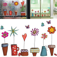 Cartoon Flower Butterfly Stickers DIY Decal on the Window glass Wall Decoration