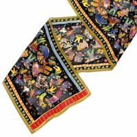 "Laurel Burch Silk Scarf  ""Feline Fairies"" - Cats 12"" x 54"""