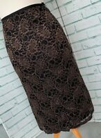 LONG TALL SALLY Black Gold Lace Skirt Sz 10 UK Straight Pencil Party