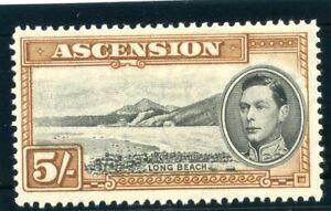 Ascension 1938 KGVI 5s black & yellow-brown MLH. SG 46. Sc 48a.