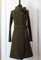 SOIA & KYO Women's Brown Black Chevron Wool Coat Jacket Belted XS Winter