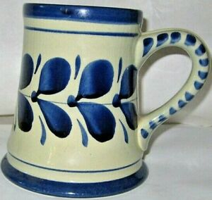 stein hand painted beer germany austria drink ware blue pottery vintage breweria