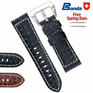 Banda Premium Grade Calfskin Crocodile Grain Leather Watch Band, Sizes 20 - 24mm
