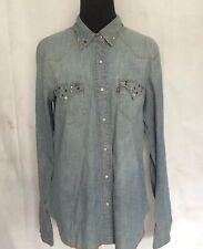 Levis Denim Jean Shirt Pearl Snaps Studded Pocket Collar Rodeo Western Cowboy M