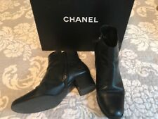 CHANEL Black Leather Ankle Boots Size 39.5 EUR 8.5 US