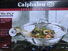 calphalon triply stainless steel 12inch wok stir fry pan with cover new - Calphalon Tri Ply Stainless Steel