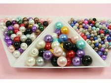 Assorted Color ROUND Glass PEARL Loose BEADS 4MM x 200 / 6MM x 100 / 8MM x 50