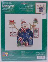 New Janlynn SNOW BOARDERS Winter SNOWMAN Bird Houses Counted Cross Stitch Kit