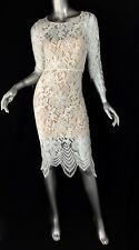 Designer sample white cocktail lace dress 3/4 sleeves knee length Sz4 nude