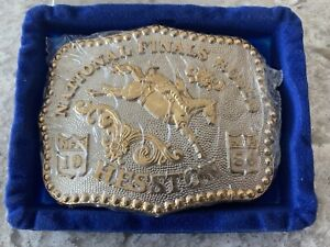 1986 Hesston National Finals Rodeo Gold Plated Belt Buckle 1447/3000 NEW