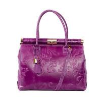 Italian purple floral tooled calf leather handbag ;Vittoria Pacini