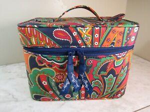 Vera Bradley Red/Green/Blue Choo Choo Mirrored Train Case Cosmetic Bag Purse