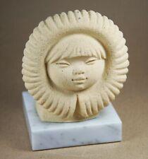 Vintage Sandstone Sculpture by Marbell Belgium  Inuit / Eskimo Child   Stone Art
